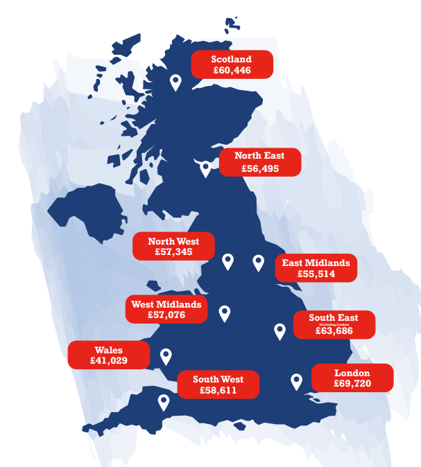GAAPweb UK salary map